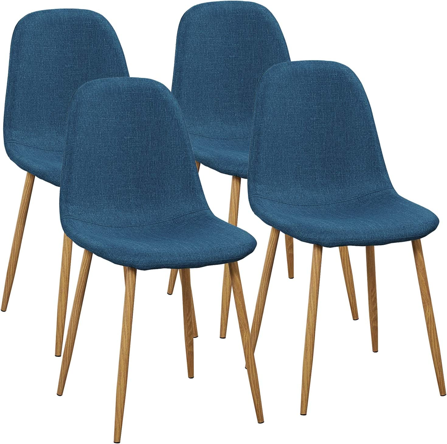 Set of 4 Blue VECELO Chairs for Kitchen//Dining//Living//Lounge Room Fabric Cushion Seat Back Sturdy Metal Legs