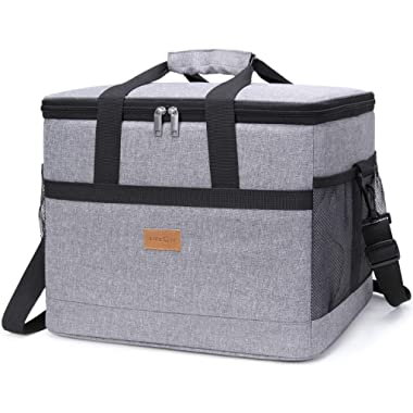 Lifewit 30L (50-Can) Soft Collapsible Cooler Bag Lunch Bag Box, Insulated Travel Bag, Soft-Sided Cooling Bag for Beach/Picnic/Camping/BBQ, Grey