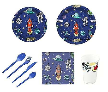 Pack para fiesta infantil o cumpleaños con diseño de planetas - Set de vajilla de plástico para 12 personas - 120 piezas