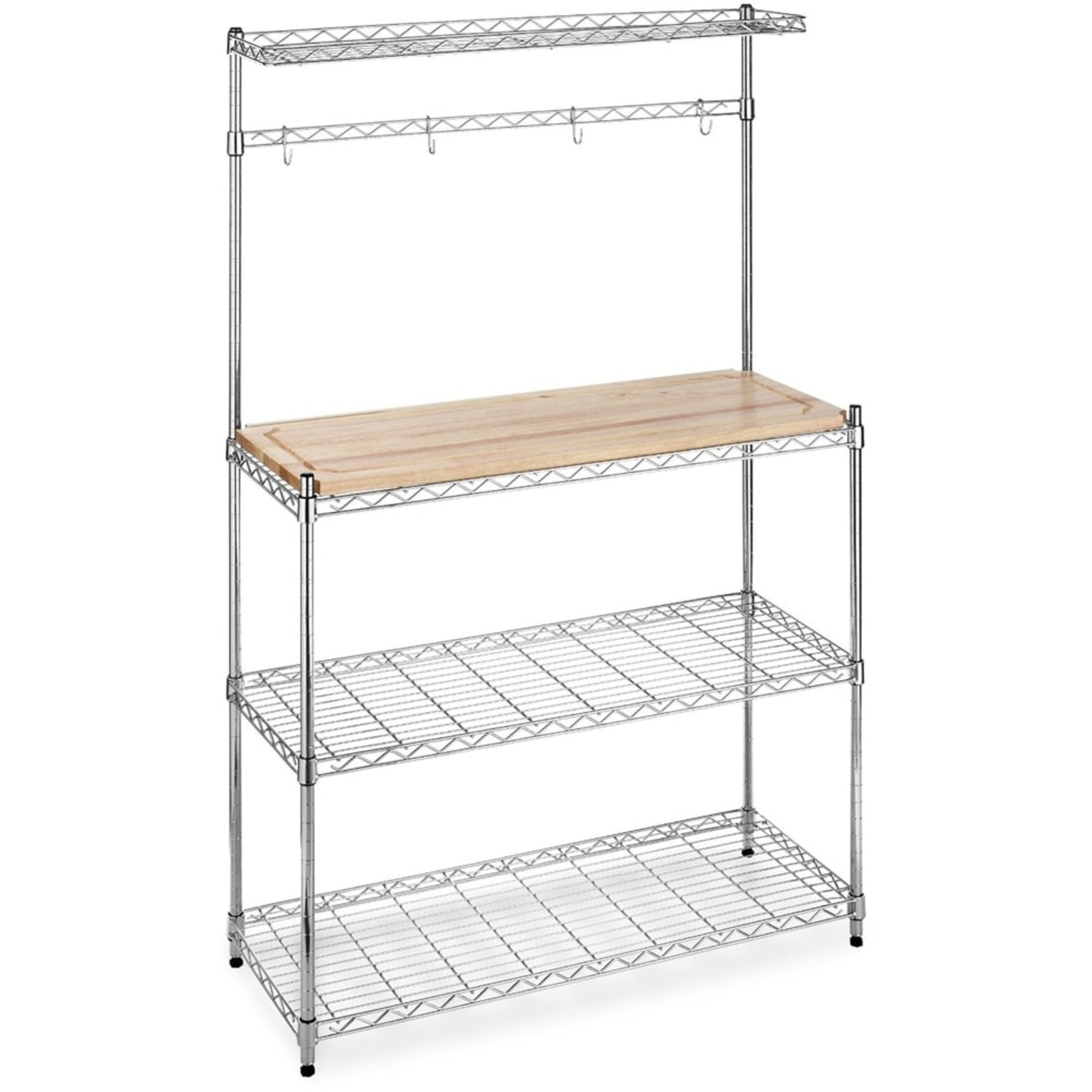 Durable Chrome Steel Construction Microwave Baker's Rack with Removable Top