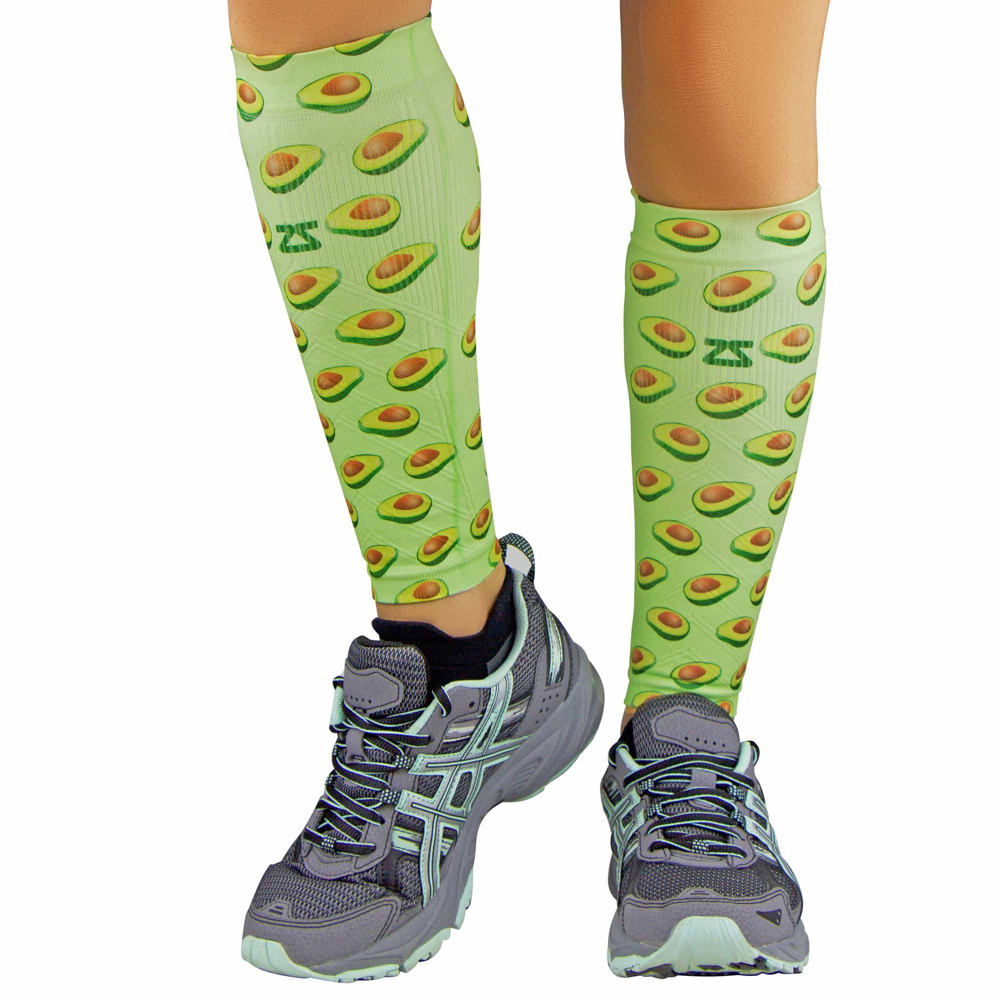 Zensah Print Compression Leg Sleeves - Avocados // Lime Green - XS/S
