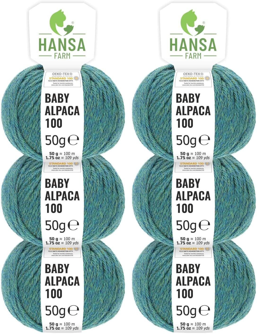 - Suave Hilo Baby de Alpaca para Punto y Ganchillo en 6 grosores Verde Azulado HANSA-FARM 100/% Lana de Alpaca en m/ás de 50 Colores 6X 50g no Pica - Set de 300g