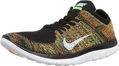 Nike Men's Free 4.0 Flyknit Black/Green/Orange 631053-006