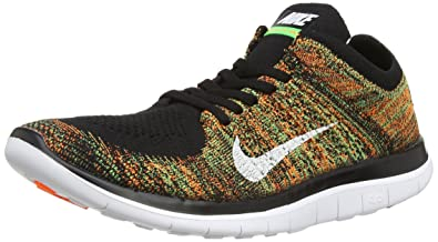 b6faabf55bac Nike Mens Free 4.0 Flyknit Black White Psn Green Ttl Orng Running Shoe