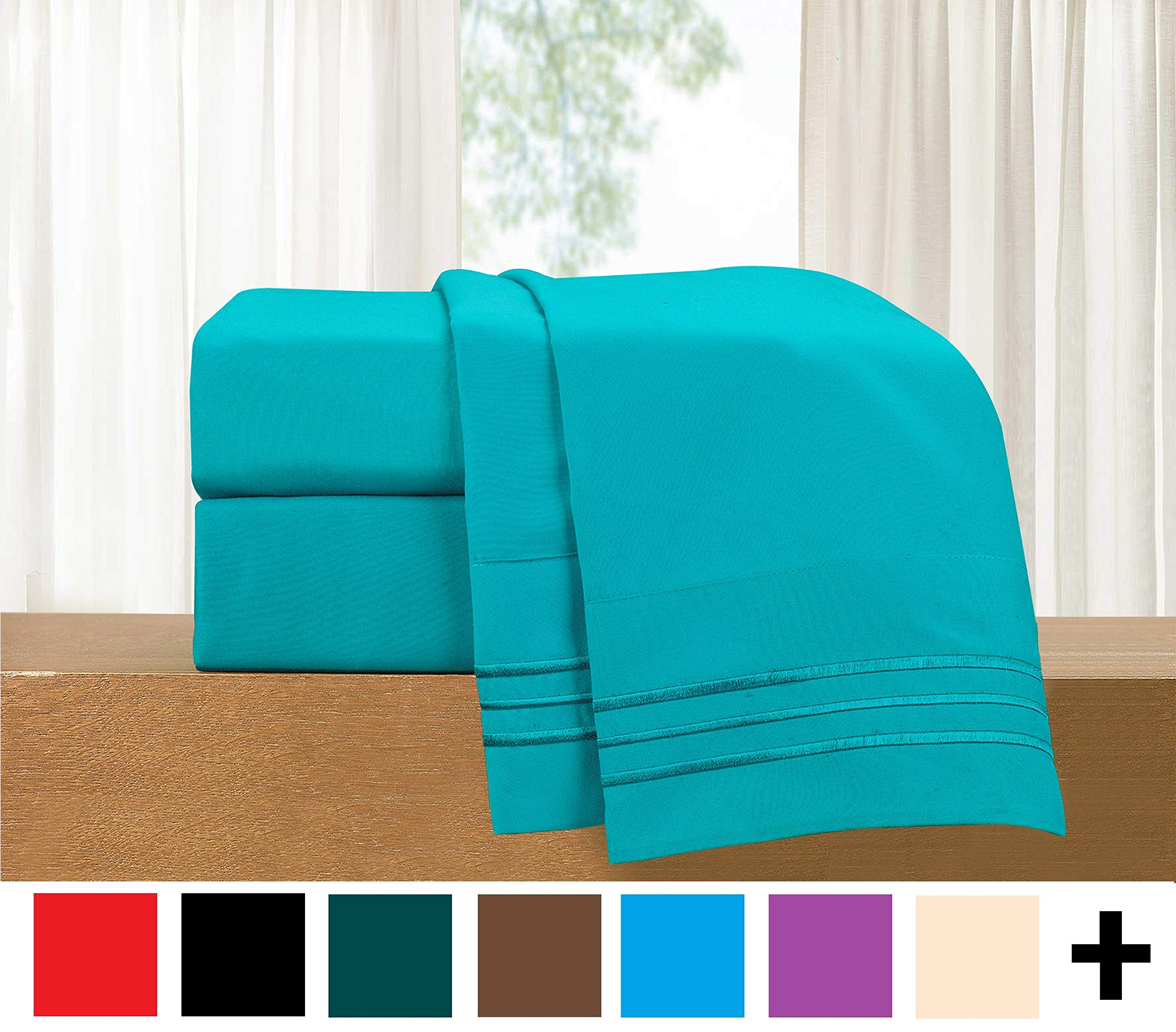 Elegant Comfort  4-Piece Sheet Set-Luxury Bedding 1500 Thread Count Egyptian Quality Wrinkle and Fade Resistant Hypoallergenic Cool & Breathable, Easy Elastic Fitted, Full, Teal