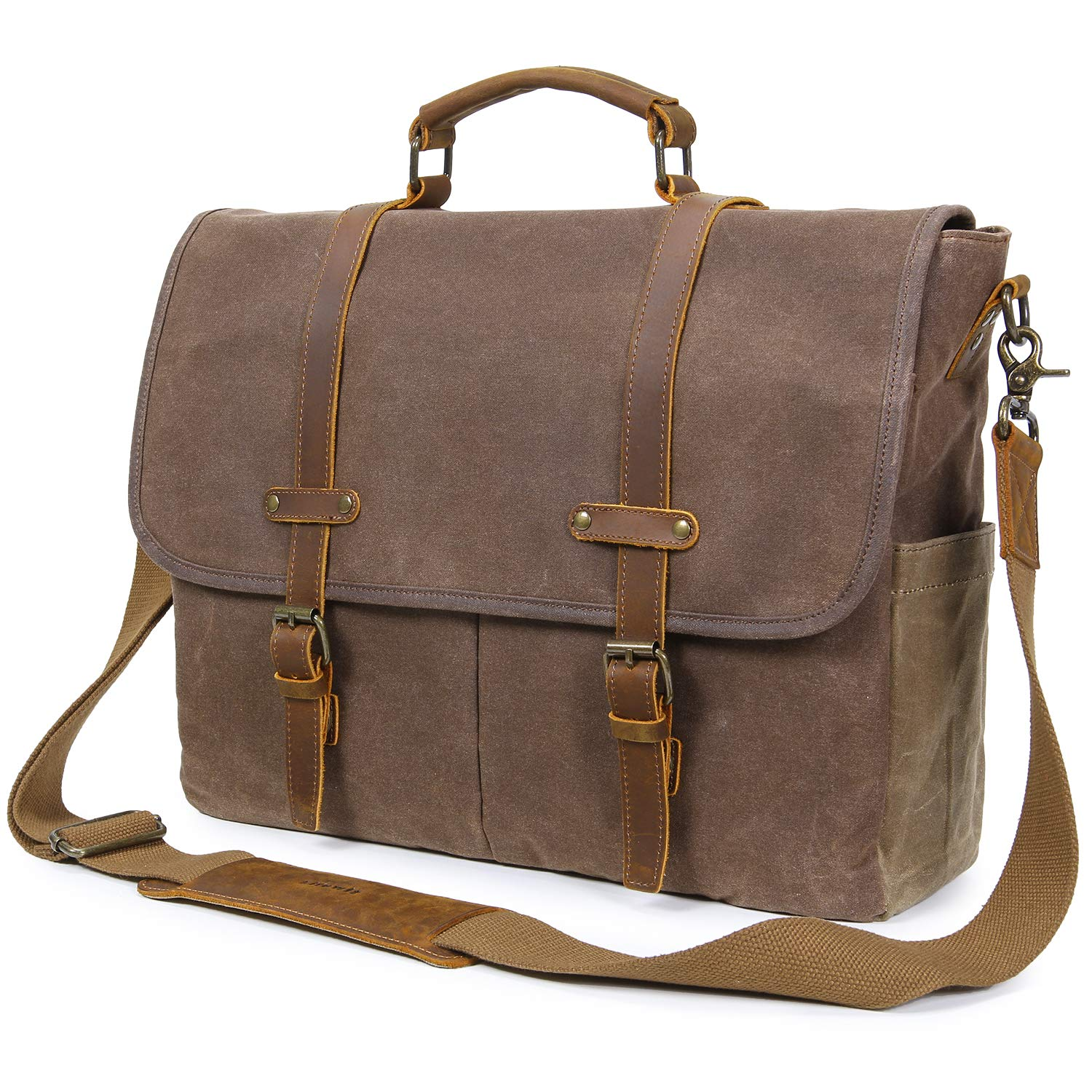 77ff3ec845 Amazon.com  Lifewit Mens Messenger Bag 15.6 Inch Waterproof Vintage Genuine  Leather Waxed Canvas Laptop Satchel Shoulder Bag Computer Briefcase   Computers   ...