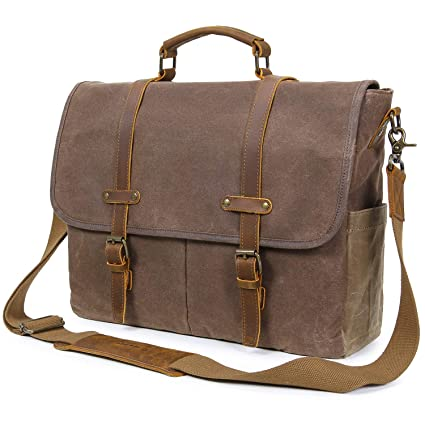 Image Unavailable. Image not available for. Color  Lifewit Mens Messenger  Bag 15.6 Inch Waterproof Vintage Genuine Leather Waxed Canvas ... 0cda1df4dd13d