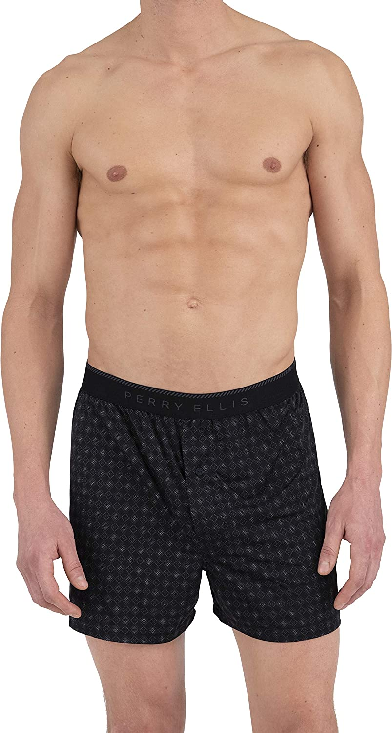 Perry Ellis Men's Diamond Rim Luxe Boxer Short