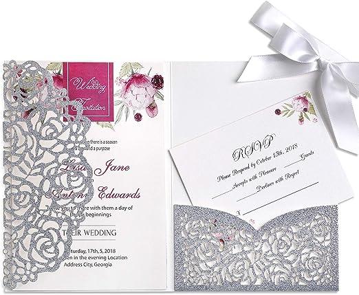 Amazon.com: Ponatia - 20 tarjetas de invitación de boda con ...
