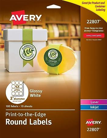 Amazon Avery 2 Inch Round Labels Glossy White 180 Round