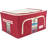 BlushBees Oxford Fabric Foldable Wardrobe Organizer Saree Cover, 24L, Red