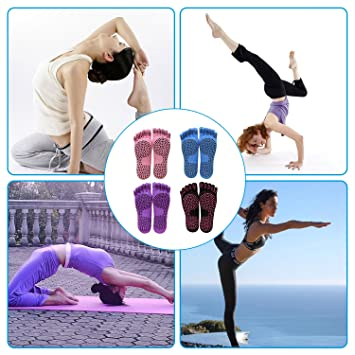 Calcetines Yoga, JimS Store Calcetines de Pilates Antideslizantes Calcetines de Yoga con Dedos (Púrpura