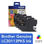 Brother Genuine LC30113PKS 3-Pack Standard Yield Color Ink Cartridges, Page Yield Up to 200 Pages/Cartridge Includes Cyan...