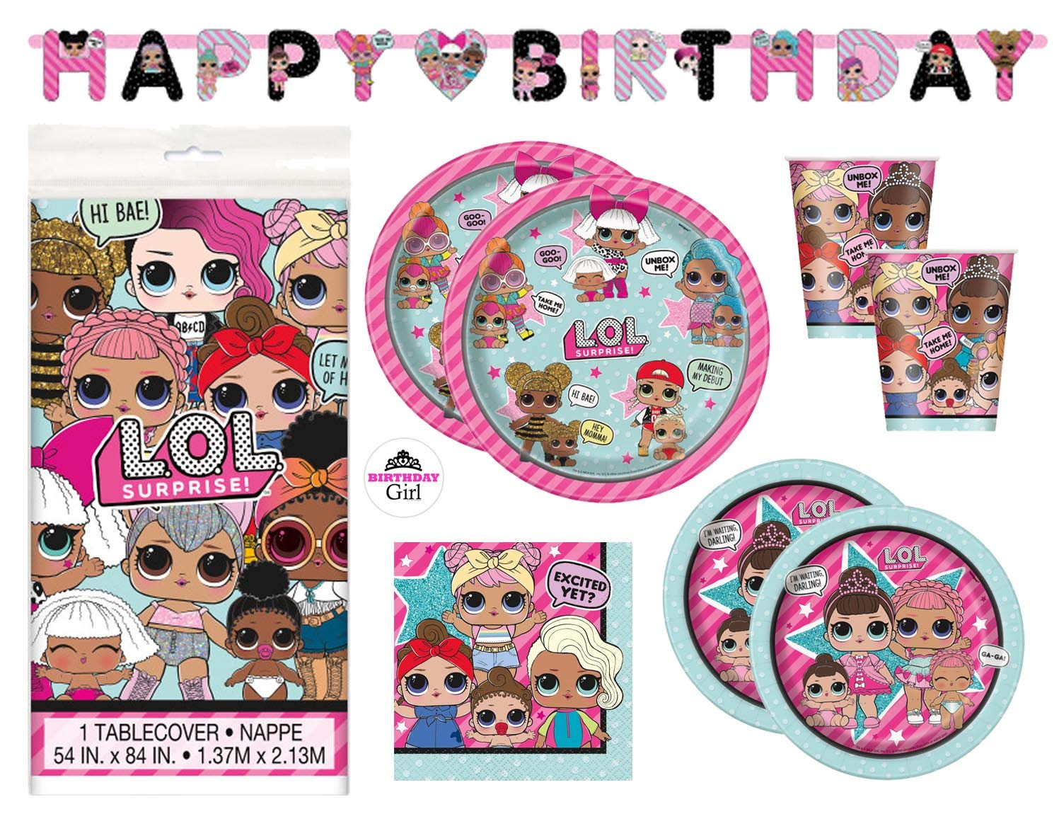 Cups Decorations Dinner and Cake Plates Deluxe with Banner - Serves 16 LOL Birthday Party Supplies Set Napkins