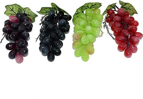 Hzhi 4 Colores Verde Rojo Fucsia ágata Uva Artificial Para Decoración De Frutas Casa Cocina Fiesta Uva Modelo De 4 Piezas Home Kitchen