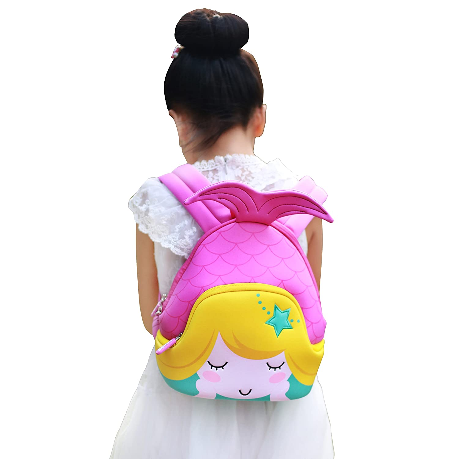 Nohoo Kids Mermaid Backpack 3D Cute Sea Cartoon School Girls twins Bags (3D-mermaid-purple)