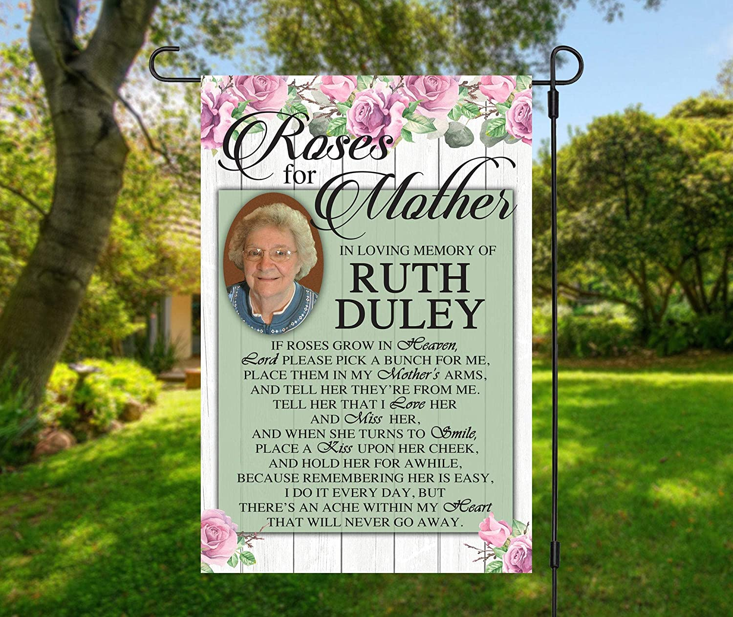Personalized Photo Memorial Garden Flag, Any Message Single Sided, in Loving Memory, Roses for Mother Cemetery Grave Flag Decor