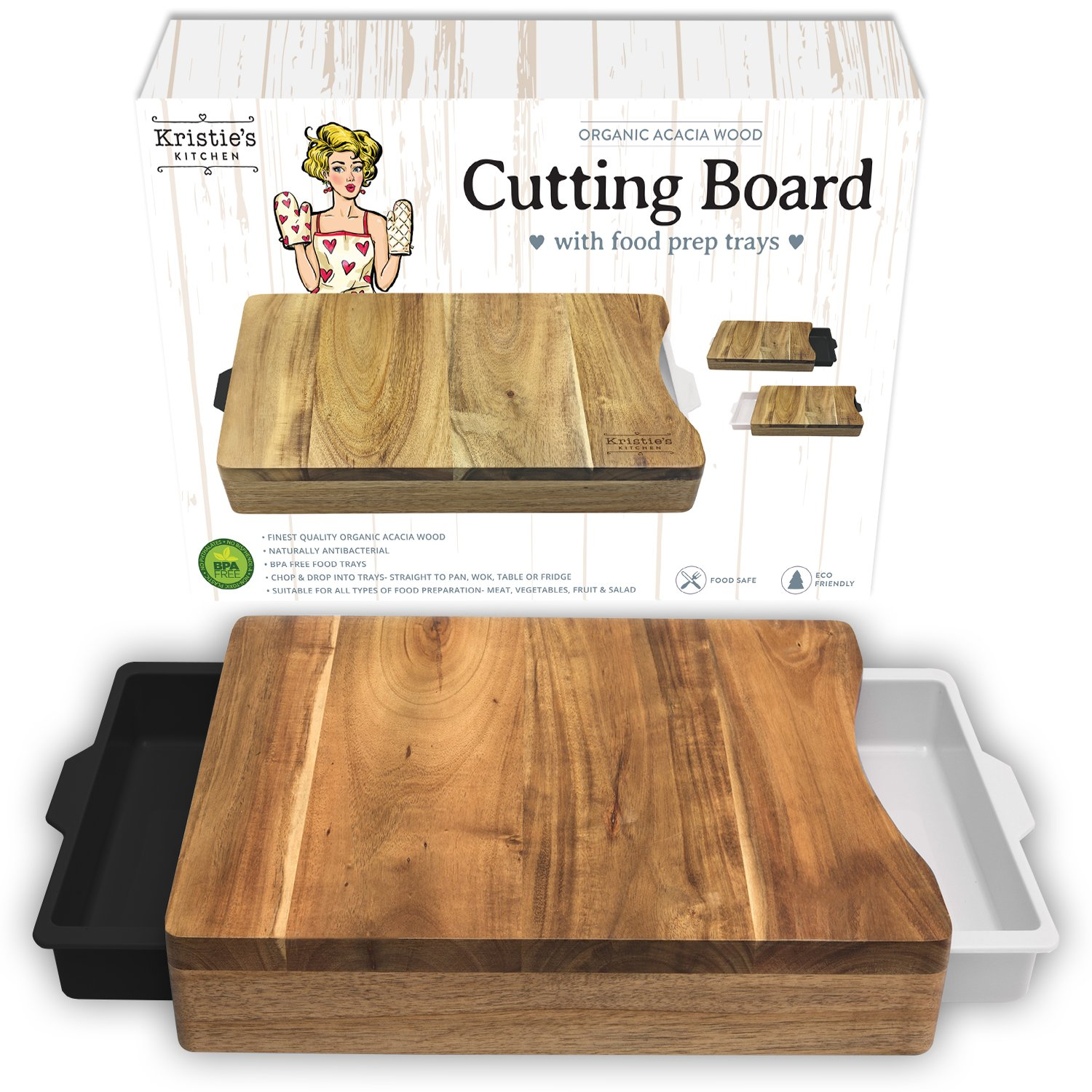 Cutting Board with Trays - Cutting Board with Containers White Black - Organic Acacia Wood Cutting Boards