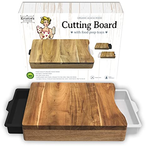 kitchen butcher block stainless steel kristies kitchen cutting board with trays organic acacia wood butcher block containers white black amazoncom