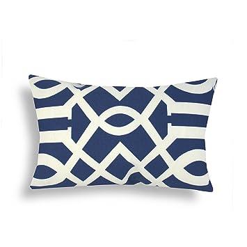 domusworks trellis lumbar pillow navy blue
