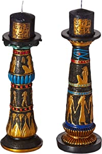 Design Toscano QL912419 Temple of Luxor Amenhotep and Rameses Egyptian Candlesticks Candle Holders Statues, 9 Inch, Set of Two, Black and Gold