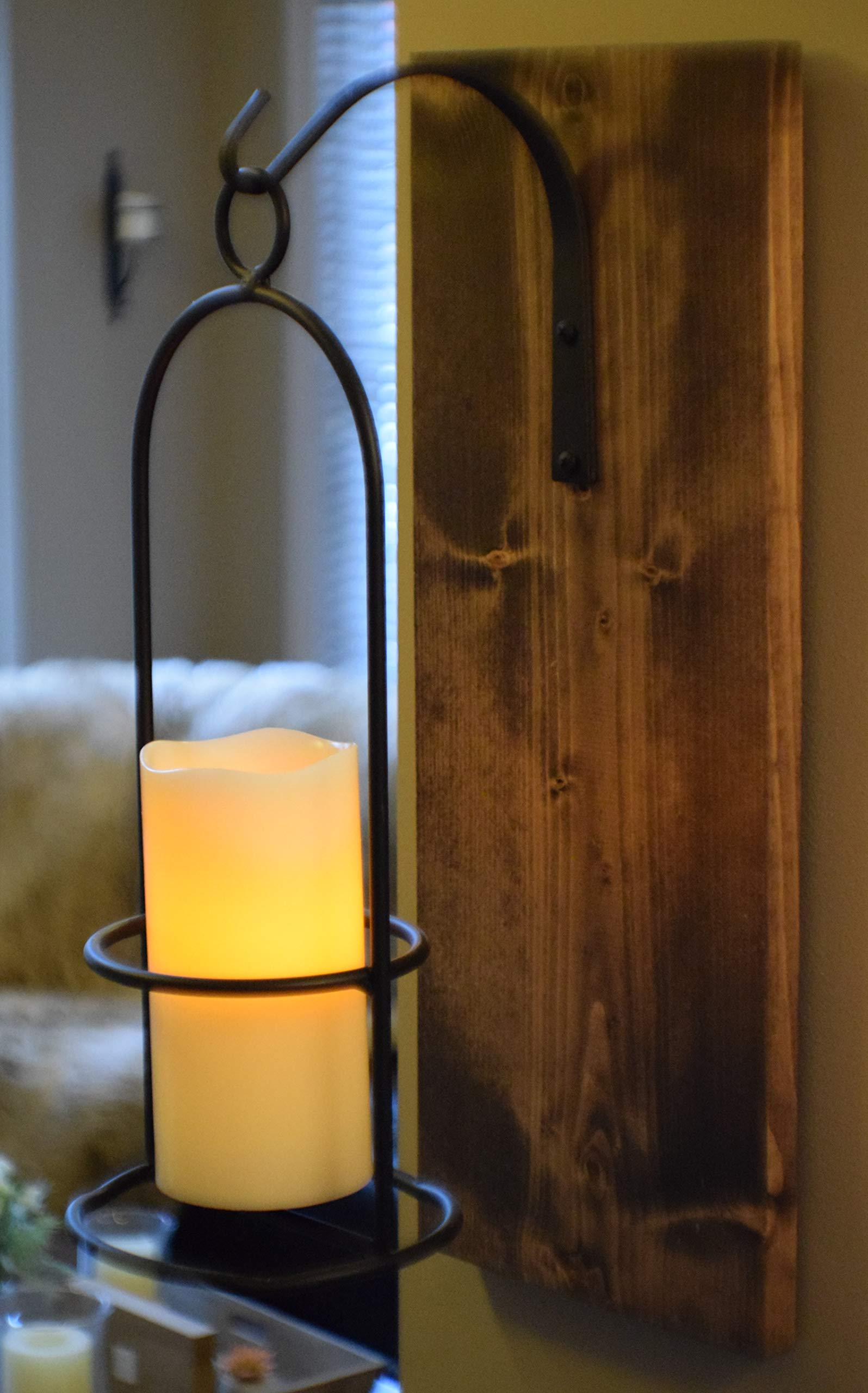 Rustic Large Wrought Iron Hanging Candle Sconce, 6 inch LED Candle with Flickering Light and 6 Hour Timer, Handmade in The USA, Farmhouse Decor
