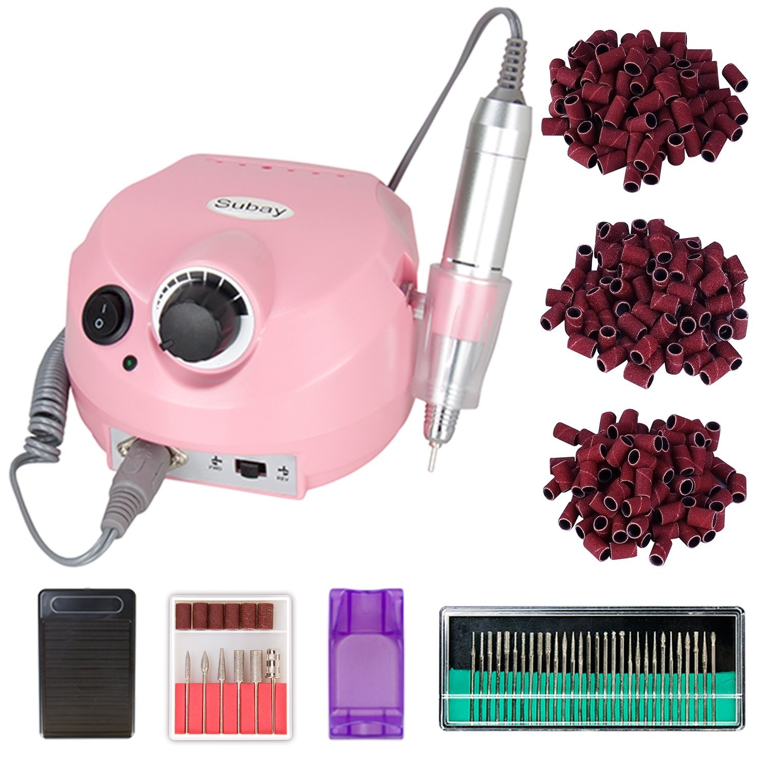 30000rpm Pro Electric Nail Drill Machine Pedicure Manicure Kits File Drill Bits Sanding Band Accessory Nail Salon Nail Art Tools (Pink) Subay