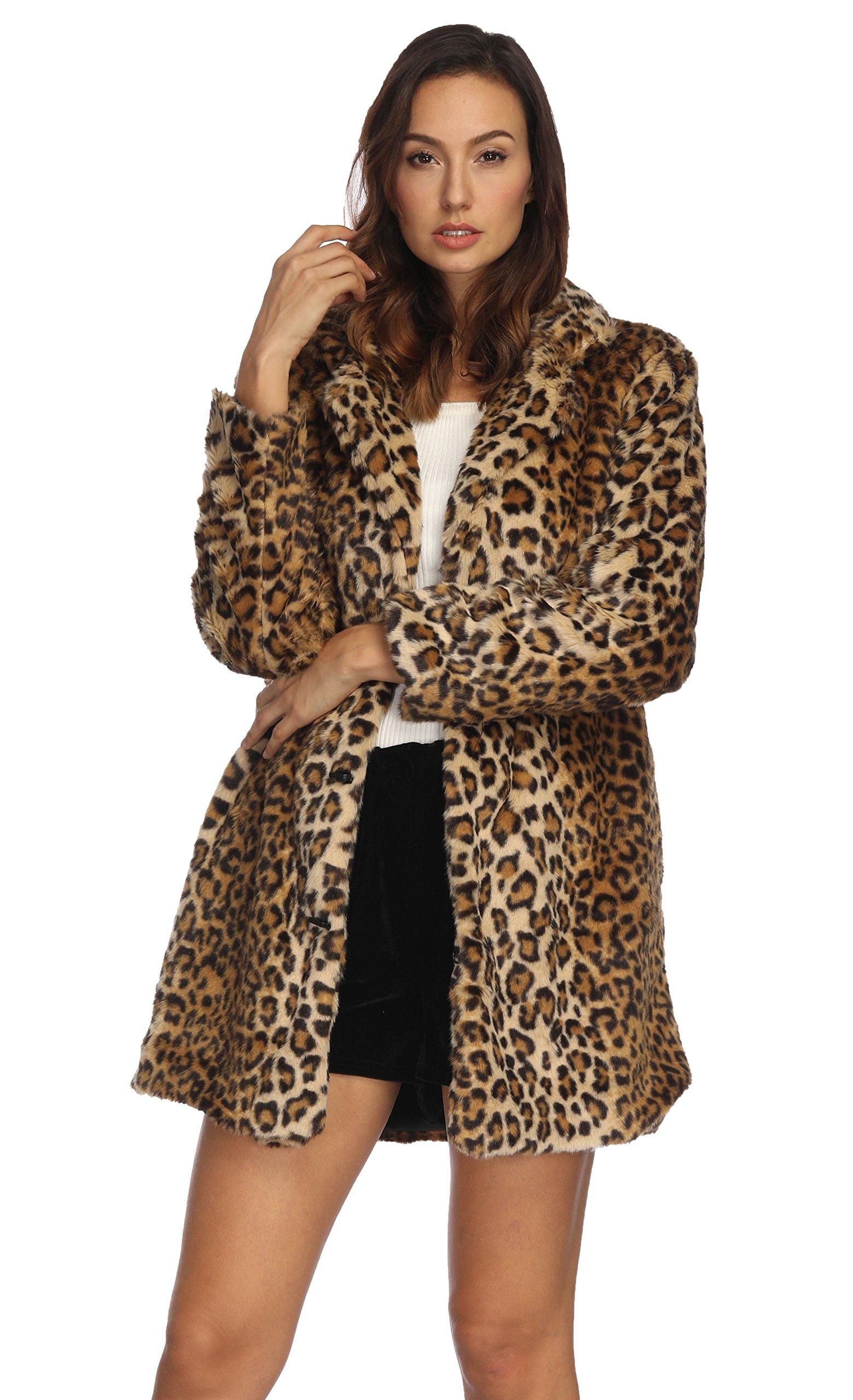 COLINNA Women's Sexy Elegant Vintage Leopard Print Lapel Faux Fur Coat Winter Jacket Outwear (M, Black)