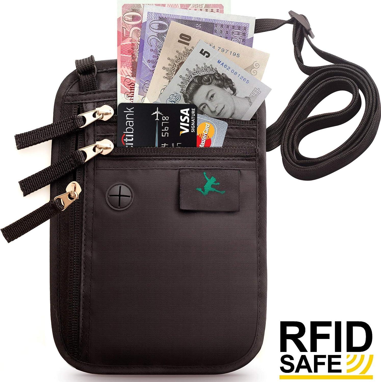 Pochette Tour de Cou Voyage Sécurisé - Portefeuille Passeport Organisateur et protection RFID - Étuis de Protection pour Cartes bancaires et Passeport