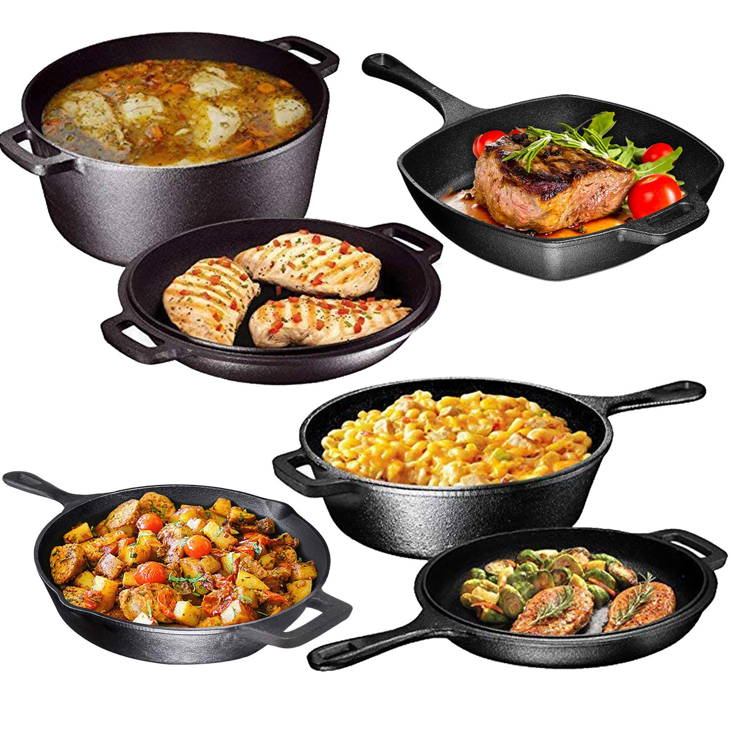 Pre Seasoned Cast Iron 6 Piece Bundle Gift Set, Double Dutch, Multi Cooker, Skillet & Square Grill Pan, Camping Cookware Set