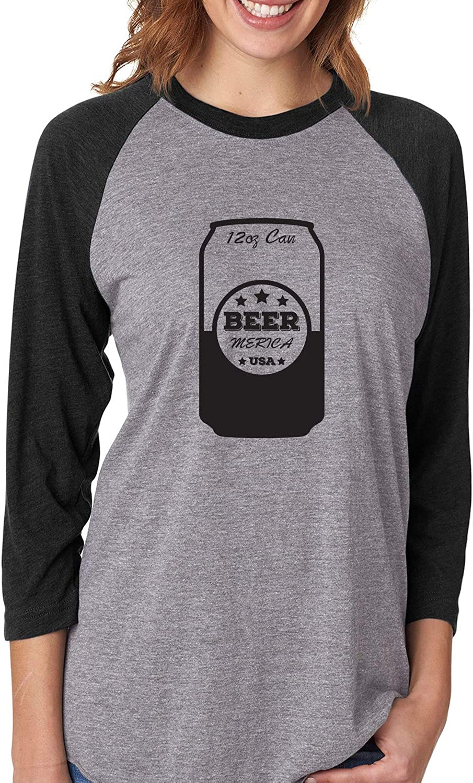 ZeroGravitee Beer Merica USA Unisex 3//4 Sleeve Baseball Raglan Tee
