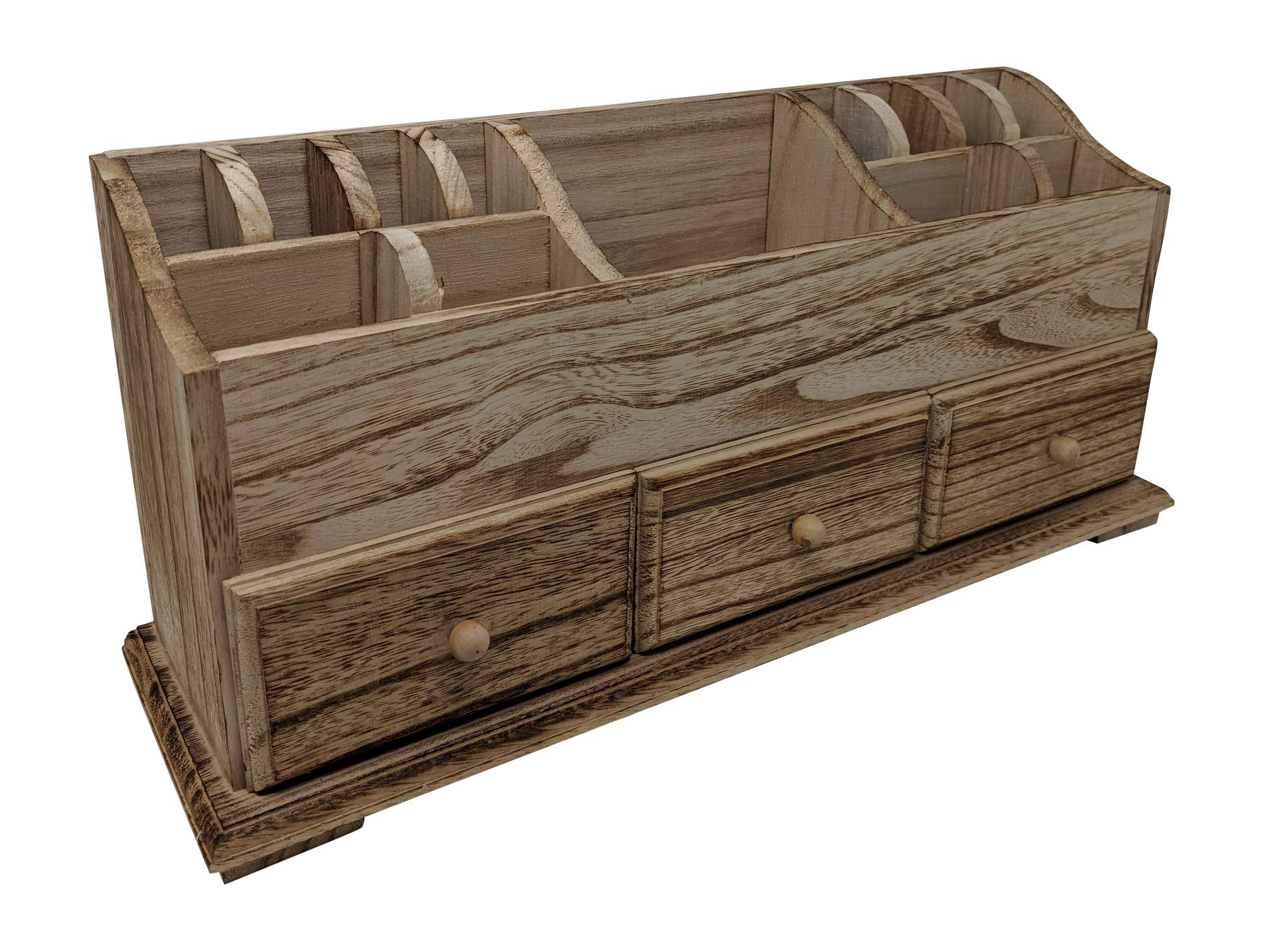 Gianna's Home Rustic Farmhouse Desk 3 Drawer Wooden Vanity Makeup Beauty Jewelry Storage Organizer (Torched Wood)