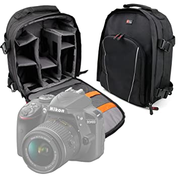 DURAGADGET Mochila para Cámara Nikon D3400 Resistente Al Agua + Funda Impermeable