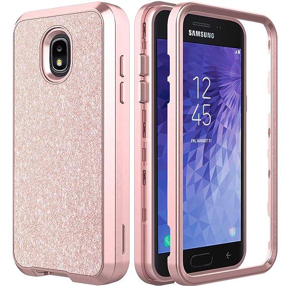 new concept 0e7fa d0f0b AMENQ Case for Samsung Galaxy J3 Achieve/J3 Star/J3 Orbit/Express Prime  3/Amp Prime 3/J3 V 3rd Gen/Sol 3 Heavy Duty Glitter Sparkle with TPU Bumper  ...