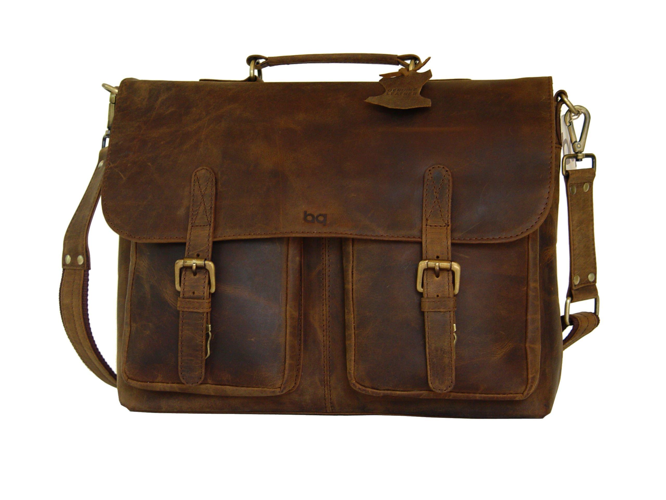 Full Grain Leather Briefcase, Shoulder Bag, Messenger Bag, Laptop Satchel by BASIC GEAR by Basic Gear