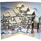 Forever Handmade Cards Pop Ups POP114 - Biglietto natalizio popup, motivo: case stile Tudor, tagliato al laser