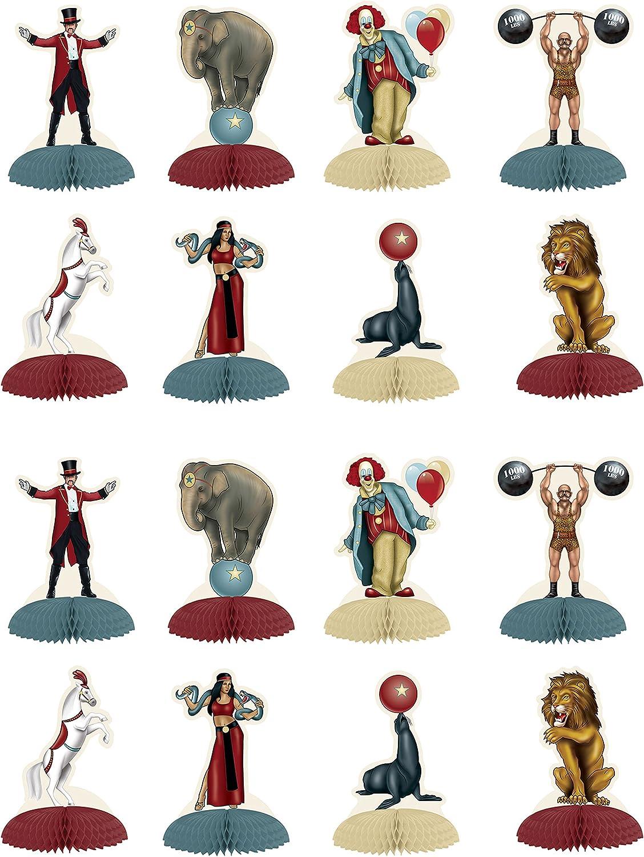 "Beistle Vintage Circus Mini Centerpieces 16 Piece, 5"", Multicolored"