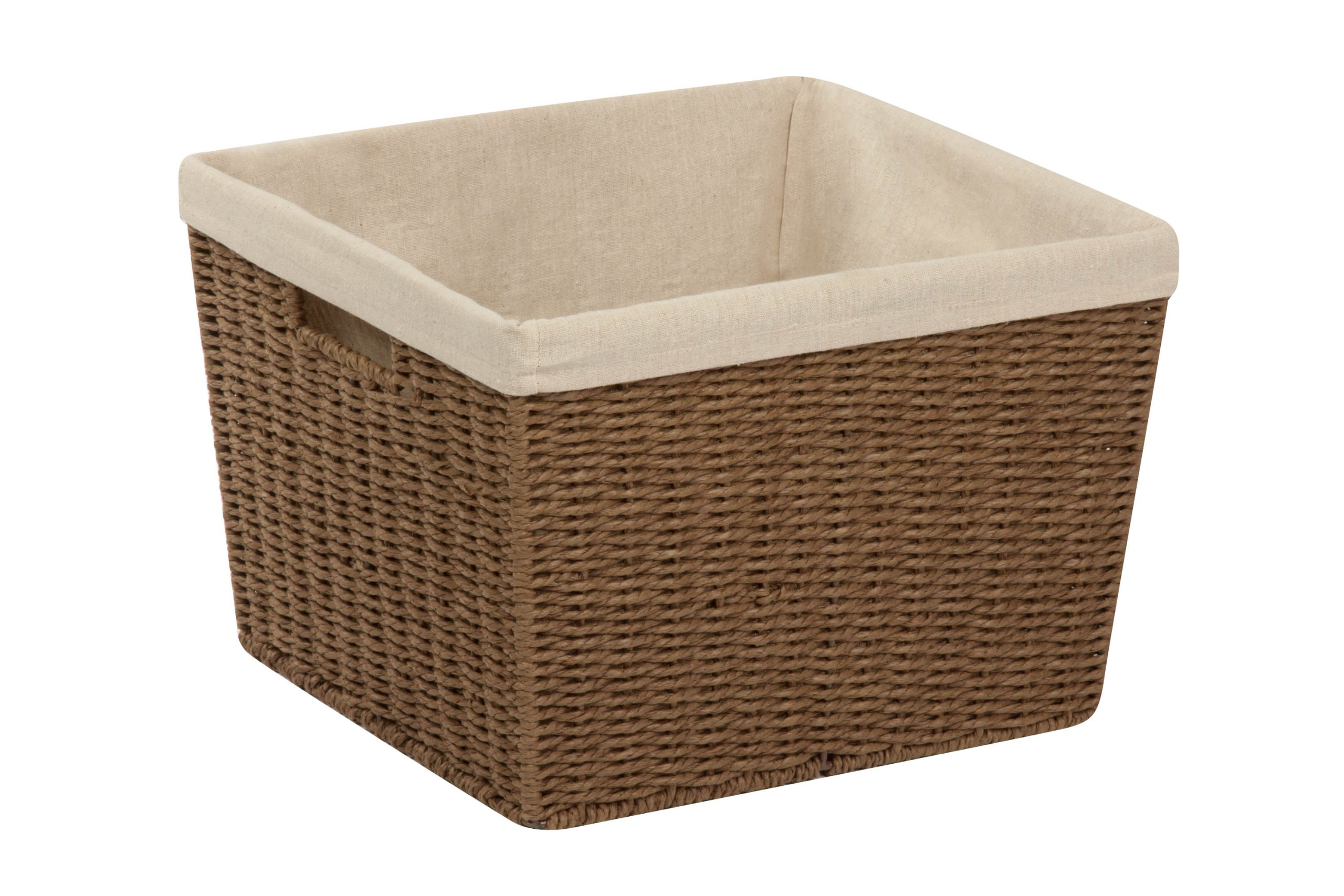 Honey-Can-Do STO-03566 Parchment Cord Basket with Handles and Liner, Brown, 13 x 15 x 10 inches