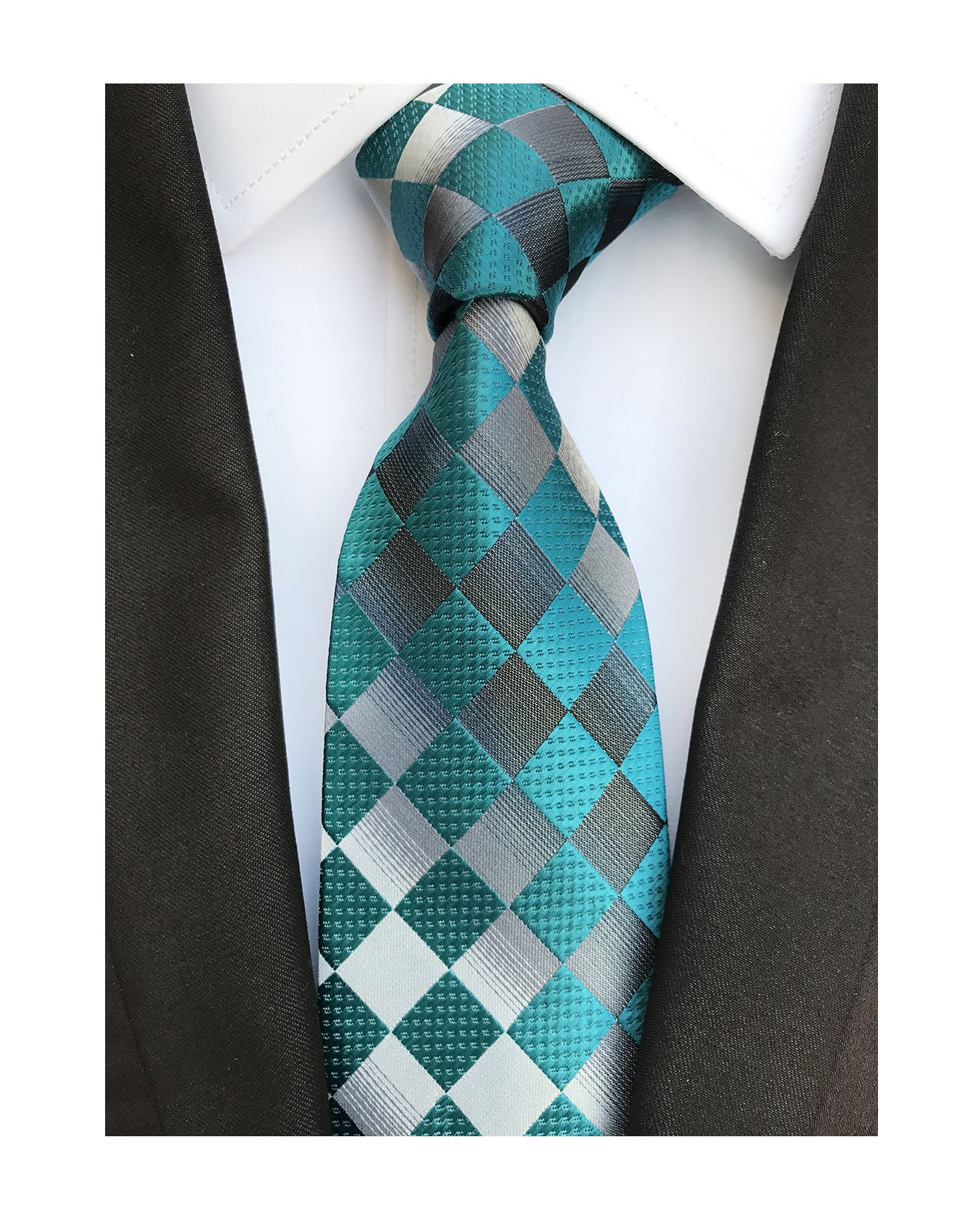 Men's Kids Aquas Green Black Jacquard Woven Silk Teal Ties Formal Summer Necktie