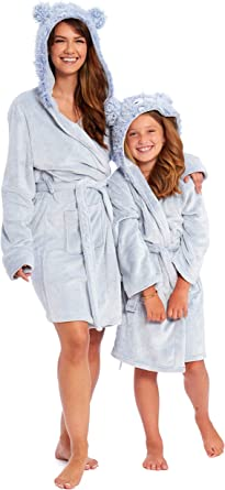 Girls Womens Christmas Hooded Fleece Matching Mother /& Daughter Bath Robe Gown
