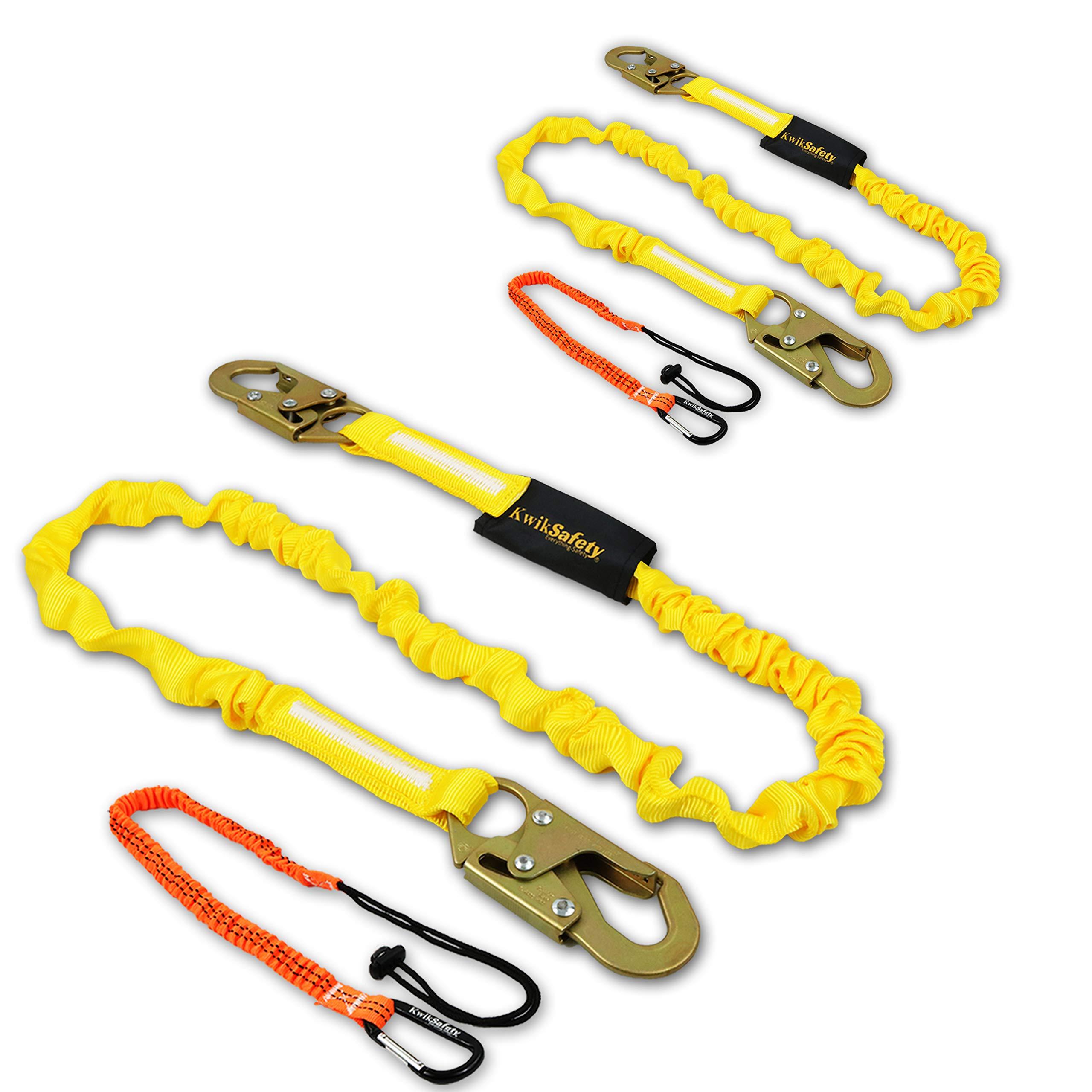 KwikSafety (Charlotte, NC) RATTLER (2 PACK) 6ft Tubular Safety Lanyard, Tool Lanyard | ANSI OSHA Single Leg Non Stretch Shock Absorbing Lanyard Snap Hooks Fall Protection Equipment