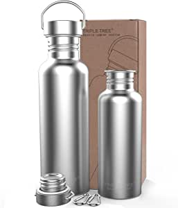 TRIPLE TREE Sports Water Bottle 304 18/8 Stainless Steel Uninsulated Single Walled Construction for Cyclists, Runners, Hikers, Beach Goers, Picnics, Camping - BPA Free 34OZ/26OZ/17OZ