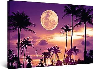 Startonight Canvas Wall Art Decor Purple Evening in Miami Landscape Moon Print for Bedroom 24