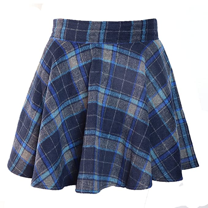 7203b02c0d2a Amazon.com: LifeWheel Winter Maiden Woolen Plaid Skirt/Womens Lady ...