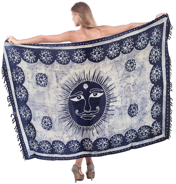 La Leela sanfte Rayon Hand Batik Sonne marineblau alle in einem Strand Abnutzung/Badeanzug vertuschen/sundress/Bikini Schlitz Rock/Damen wickeln Pareo/plus Größe Badeanzug 198x99 Sarong Kleid cms