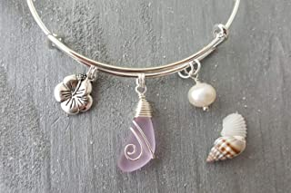 "product image for Handmade in Hawaii, wire wrapped""October Birthstone Color"" pink sea glass bracelet, Hibiscus charm, freshwater pearl, (Hawaii Gift Wrapped, Customizable Gift Message)"