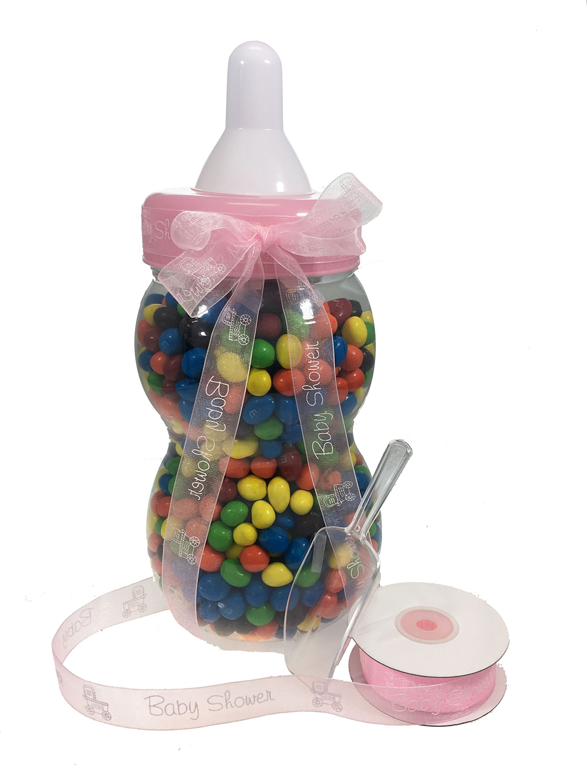 13.5'' inch Plastic Milk Bottle - Baby Shower Game, Fillable Baby Shower Bank Plastic Decoration Centerpiece (Pink) by LACrafts (Image #1)