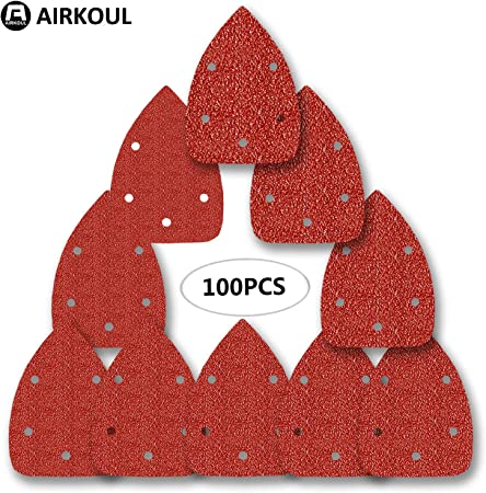 80 Pack of 40-90mm Hook /& Loop Triangle Sheets 60 120 and 240 grit