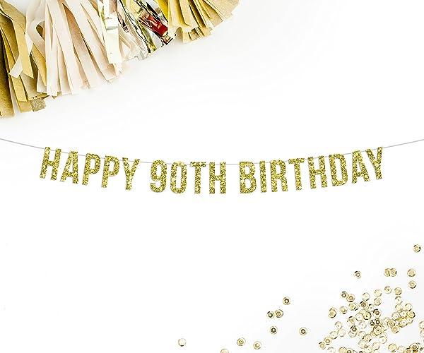 Popular Amazon.com: Happy 90th Birthday Banner, Gold Glitter | birthday  PZ26