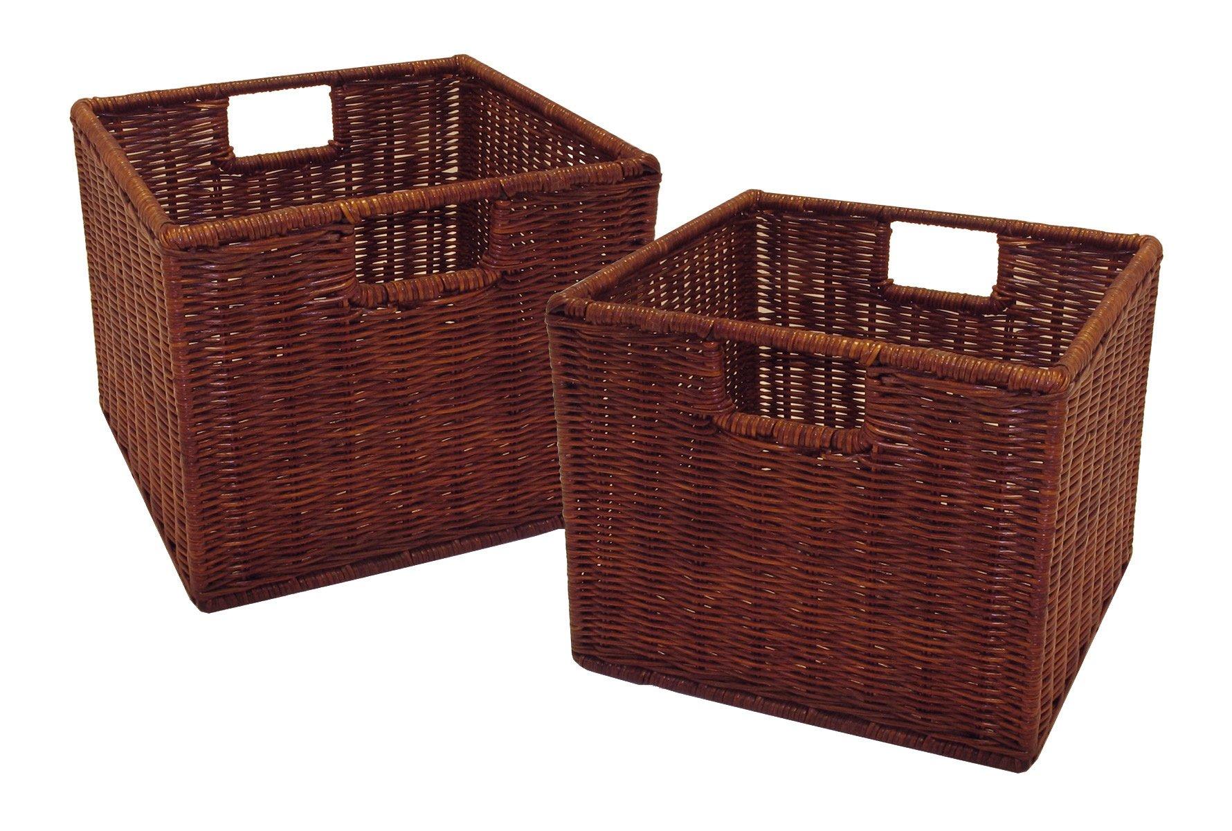 Winsome Wood Leo Storage Baskets, Set of 2,Walnut Finish